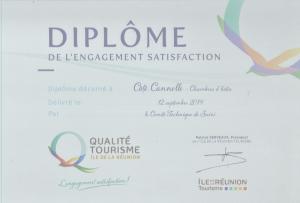 Côté Cannelle a son Diplôme Qualité Tourisme Réunion